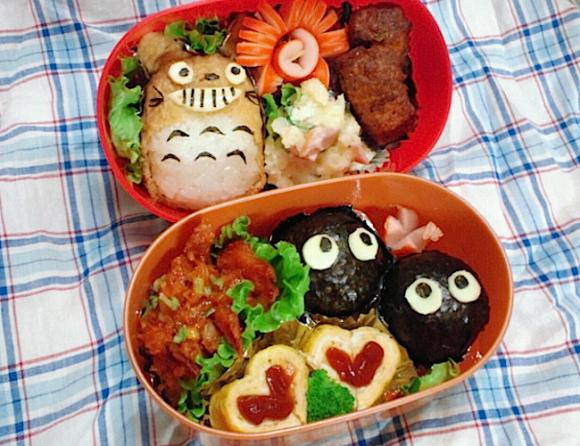 Ghibli Totoro, Susuwatari, Kurosuke, soot sprites, Character bento three years of kyaraben, iyagarase bento blog mom