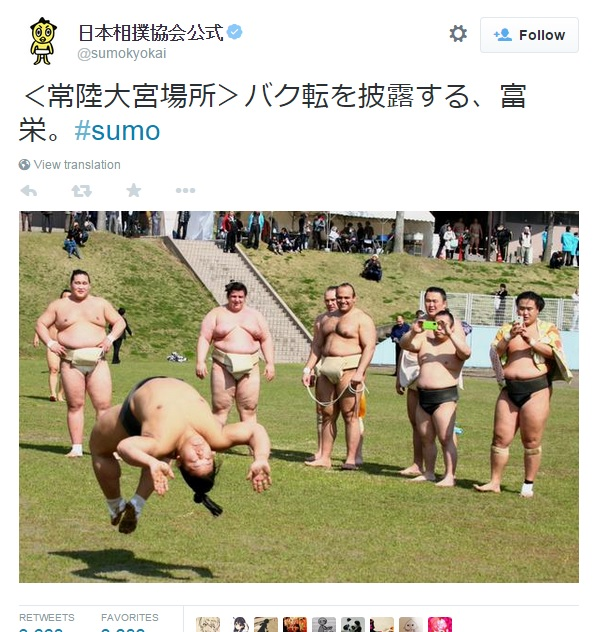 Big dudes CAN jump: Frolicking sumo means it's officially springtime again in Japan!