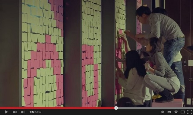 Possibly the biggest ever marriage proposal made with Post-it notes!