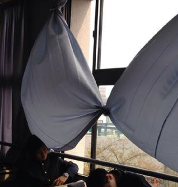 Lonely kids at all-boys school in Kyoto create giant bra out of curtains for invisible breasts