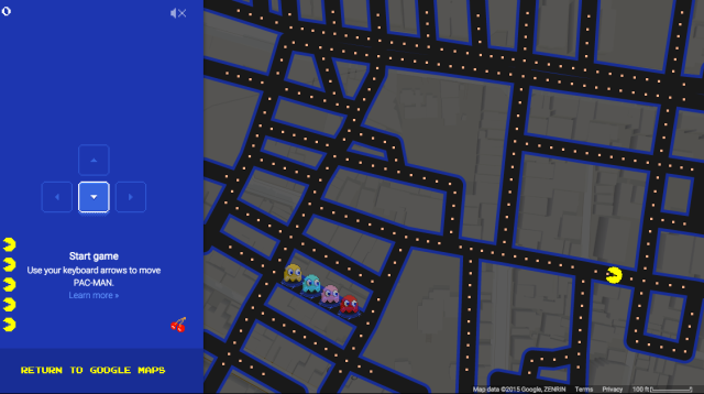 Google knows you're no April Fool, so they offer you Pac-Man playable in Google Maps