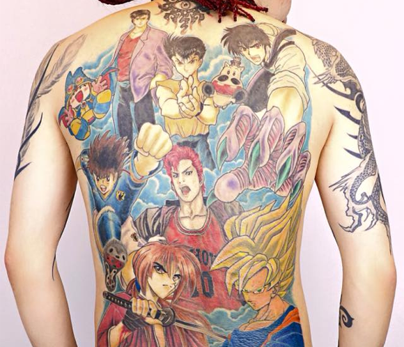 Japanese man completes tattoo homage to '80s and '90s Shonen Jump anime