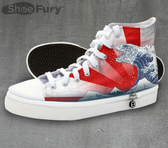 Combine your love of Godzilla, ukiyo-e and fashion with these fresh kicks from TeeFury