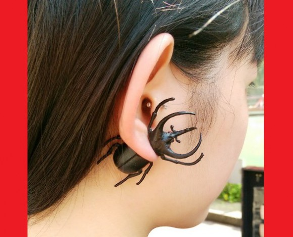 "Eww, what's that on your ear?! ""Kimo-kawa"" bug jewellery's totally in right now!"