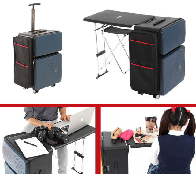 Rolling suitcase with built-in desk is perfect for mobile businesspeople and cosplayers alike