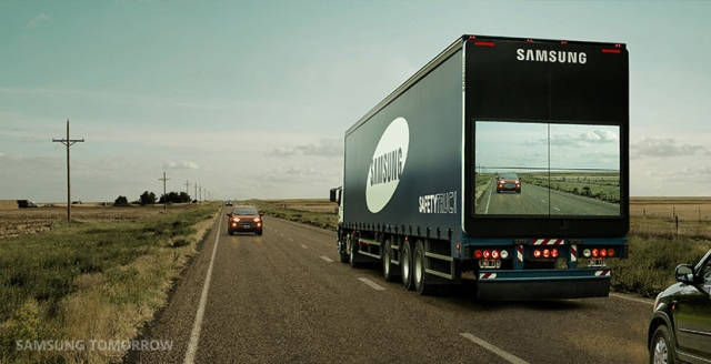Samsung prototype 'Safety Truck' uses all-weather screens to make driving safer, maybe
