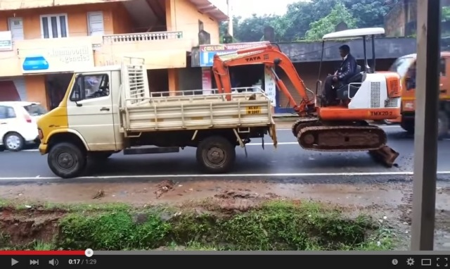 Video from India shows fast way to load construction equipment…or die, whichever comes first