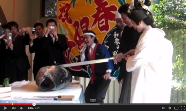 Make your wedding a day to remember, by cutting the head off a tuna together