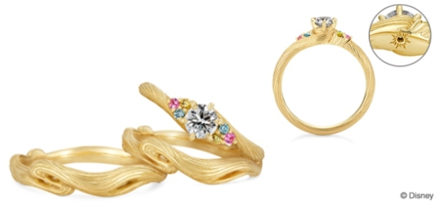 """Celebrate your love in style with Disney's """"Tangled""""-inspired engagement and wedding rings!"""