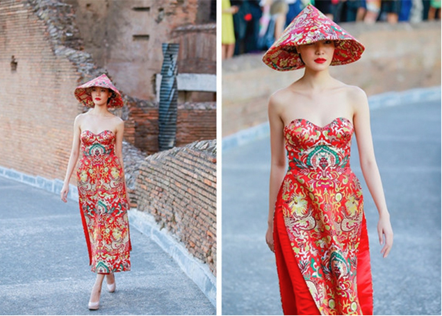The traditional dress worn by a former Miss Vietnam deemed not Vietnamese enough