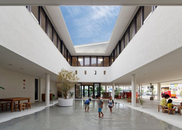 Kumamoto preschool designed to become a giant puddle when it rains