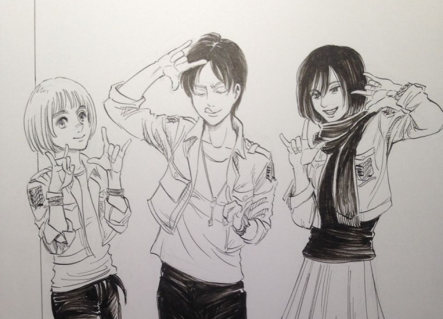 Anime becomes reality, becomes anime again as Attack on Titan artist draws posing cosplayers