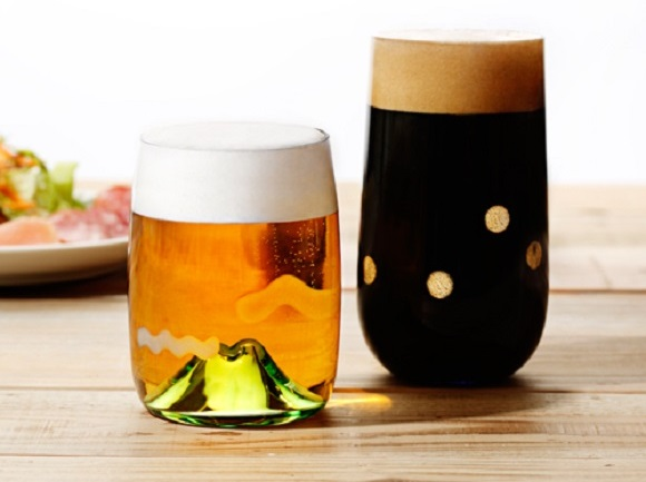 Exquisitely blown Japanese beer glasses create serene landscapes while you drink
