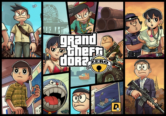 Fans are raving over this amazing Doraemon x Grand Theft Auto V crossover【Pics】
