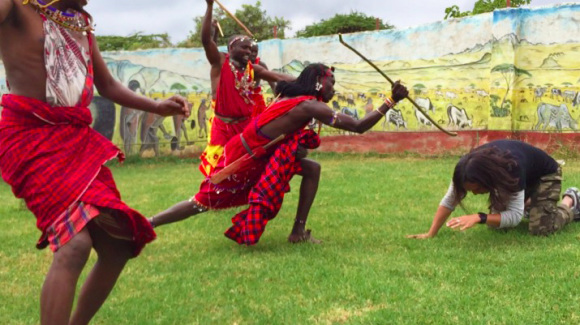 The Maasai people teach us how to kill a lion, demonstrate on our writer