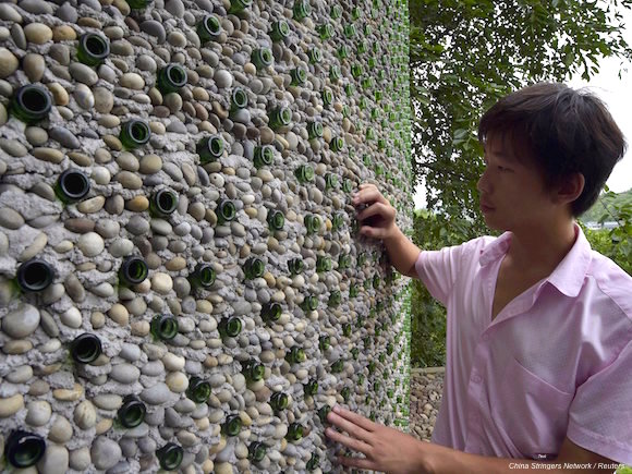 An architect figured out a brilliant way to reuse thousands of empty beer bottles
