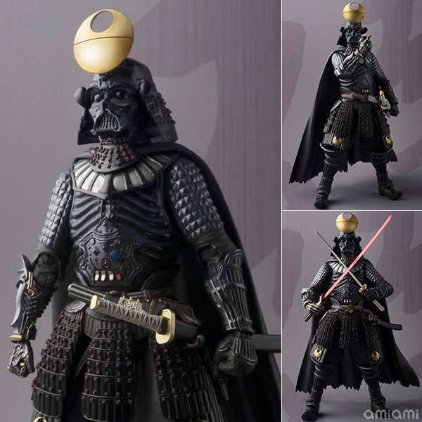 Darth Vader in Death Star armour brandishes lightsaber katana, joins the Samurai force in Japan