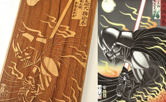 If Darth Vader owned an iPhone, he'd probably keep it in a stunning wooden ukiyoe Star Wars case
