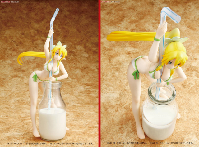 Anime figure with straw-holding cleavage is the perfect way to enjoy a nice glass of milk