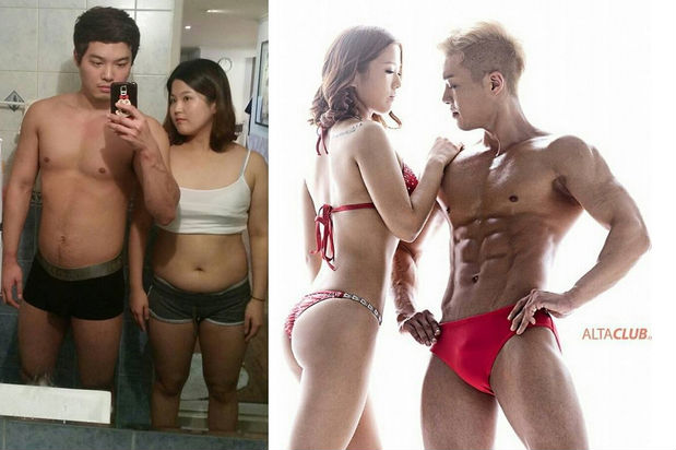 It must be love: Korean couple make dramatic body transformations in just five months