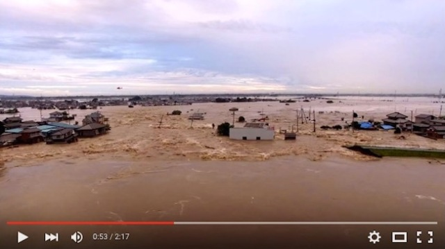 Drones capture shocking footage of flooding in Ibaraki, Japan【Video】