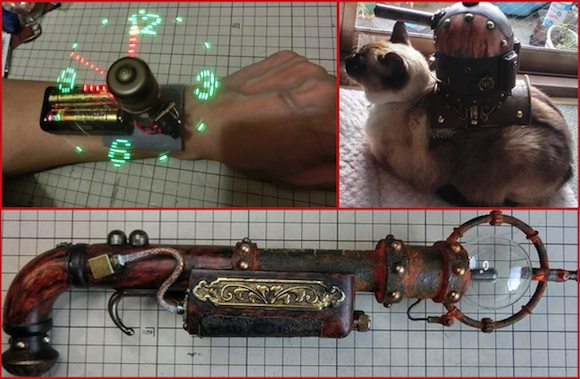 Japanese Twitter user wows Internet with hologram wristwatch, cat tank, and steampunk creations
