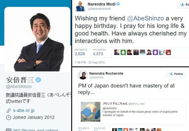 Japanese PM Abe accidentally thanks the inventor of the retweet while trying to reach Indian PM