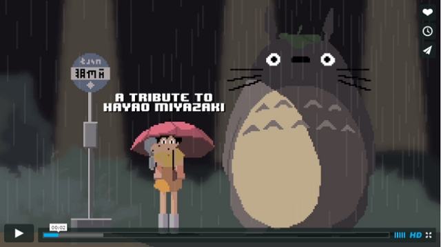 Ghibli characters gather together in 8-bit form to thank their creator【Video】