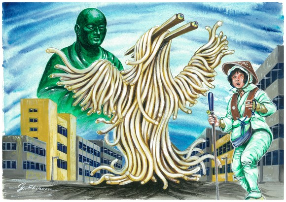 Kagawa's Udon Monster joins Japan's other local kaiju to help save the environment