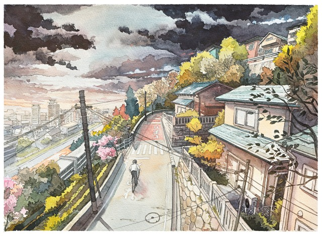 "Illustrator creates beautiful ""Bicycle Boy"" watercolour series inspired by Studio Ghibli"
