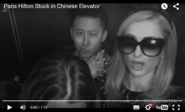 Paris Hilton gets stuck in a crowded elevator in China, praises her savior【Video】