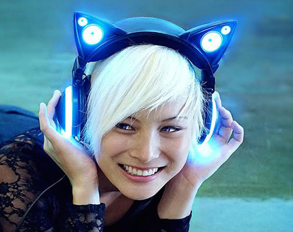 Axent Wear, those cat-ear headphones with LEDs and external speakers, are finally going on sale!