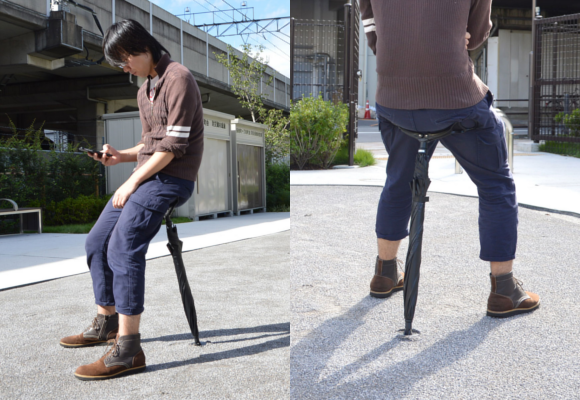 Japan's latest awkward invention: the chair-umbrella 【Pics & Video】