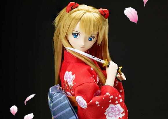 Evangelion x Japanese Sword dolls take a trip to traditional Japan with katana blades and kimono