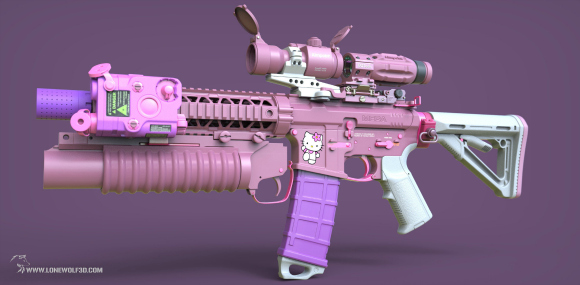 Say Hello (Kitty) to my little friend — Sanrio's famous mascot as a custom assault rifle