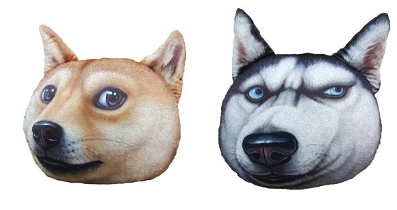 Much wow, so cushion: Soft and realistic 3-D doggy (and kitty) heads to park your butt on