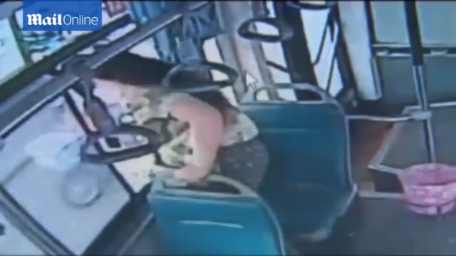 Woman in China misses bus stop, jumps out of bus window instead 【Video】