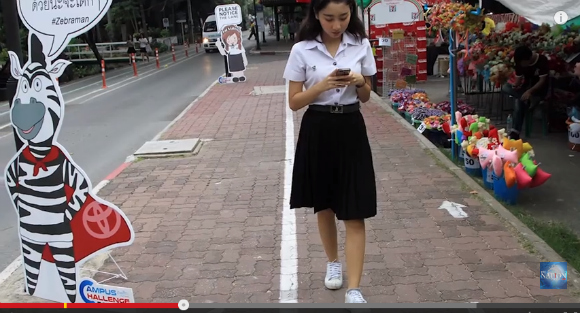 "Thai university trials ""mobile phone lane"" in effort to increase student safety"
