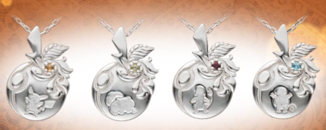 Pikachu and other old-school grass, fire, and water Pokémon become silver and gold necklaces