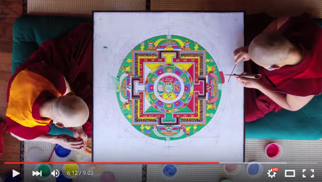 A week's work on a Tibetan sand mandala, captured in eight mesmerizing minutes of video