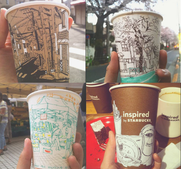 Japanese artist captures the beauty of Tokyo street scenes and cafes on coffee cups 【Pics】