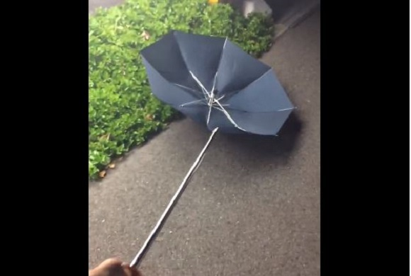 Umbrella decides it's had enough of the rain, flies off handle【Video】