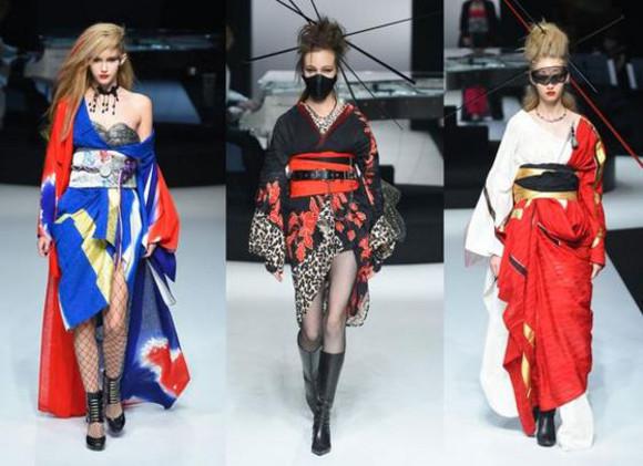 Japanese rock star Yoshiki performs while debuting edgy kimono collection at Tokyo Fashion Week