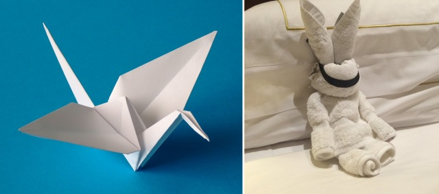 Hotel guest leaves origami for cleaning staff, back-and-forth folding battle ensues!