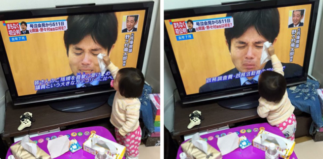 """Innocent child's reaction to seeing the bawling politician fills us with """"d'aww's"""""""