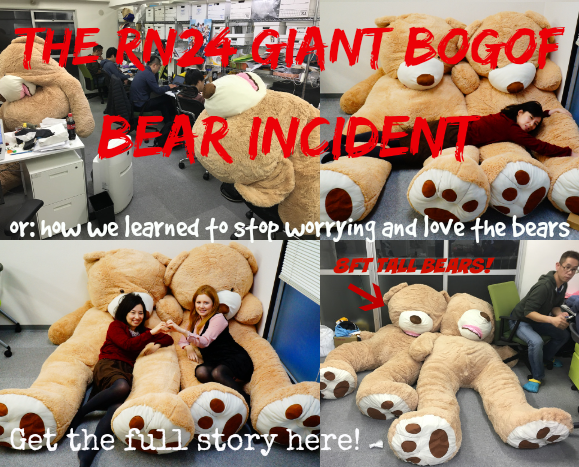 The RN24 Giant Bear Incident: Eight-foot-tall teddy twins appear in our office, steal our hearts