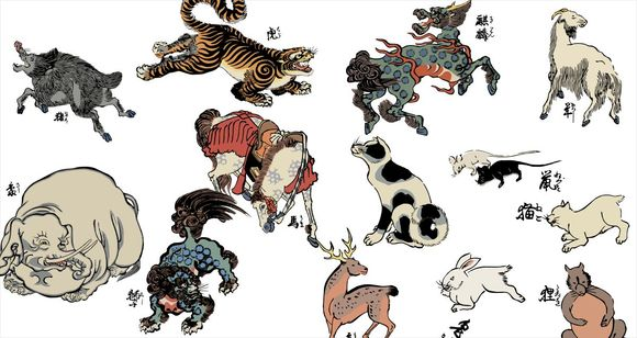 Edo-period ukiyoe woodblock prints of animals and mythical beasts now available for free online