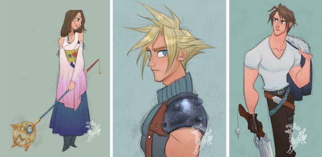 Final Fantasy fan art with a Western touch creates illustrations just right for any Disney fan