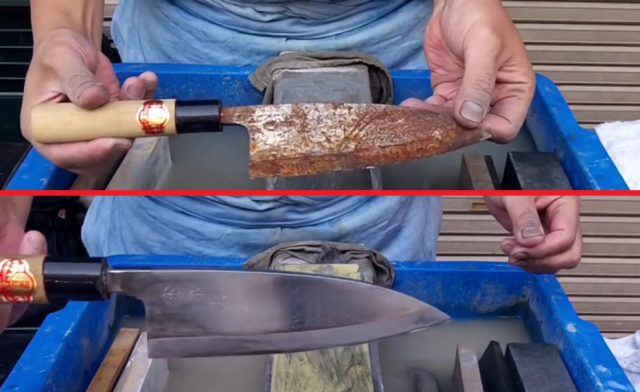 Oddly satisfying: Sharpening master turns rusted blade back into brand new knife【Video】