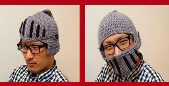 Japanese fashion company's knight's helm knit cap will keep you warm during your winter quests